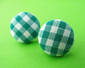 Green Gingham Fabric Covered Stud Earrings - Retro Ear Posts