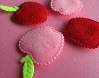 4 Cute and Colorful Apple Magnets in Red and Pink