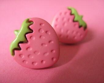 Strawberry Stud Earrings - Pink Ear Posts