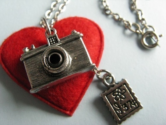 With Love From... - Photo Camera and Postage Stamp Pendant and Necklace