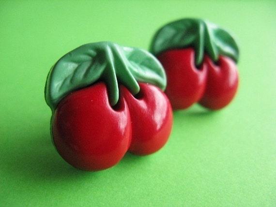 Cherry Stud Earrings - Retro Rockabilly Ear Posts
