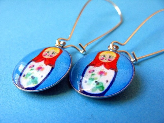 Matryoshka Kidney Wire Earrings - Russian Doll Dangles - Azure Blue