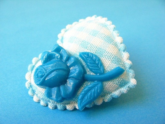 Heart and Flower Gingham Brooch - Blue/Teal and White