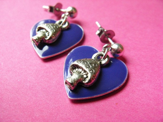 Hearts and Mushrooms Studs - Purple Heart and Toadstool Earposts