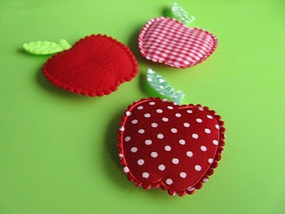 3 Red Apple Magnets - Gingham - Dots - Plain
