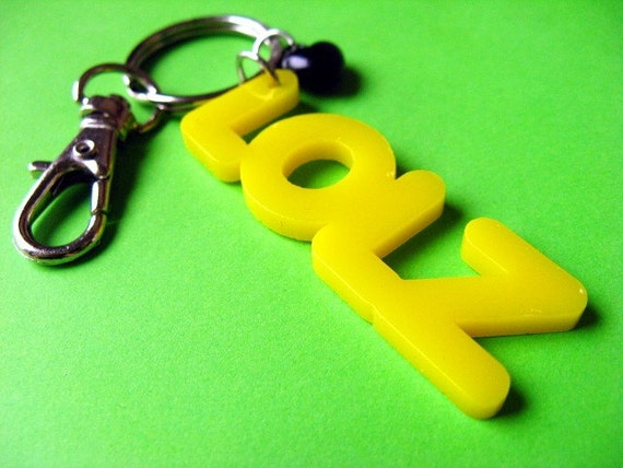 LOLZ Internet Lingo Keychain or Baghanger - Yellow