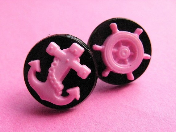 Sailor Studs - Pink Anchor and Helm Earposts - Earrings