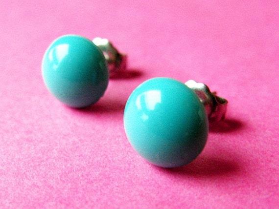 Dotties Dome Ear Posts - Round Aqua Teal Mod Stud Earrings - Retro
