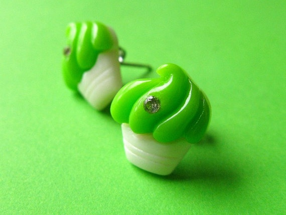 SALE - Sparkle Cupcake Stud Earrings - Neon Green Ear Posts with Rhinestones