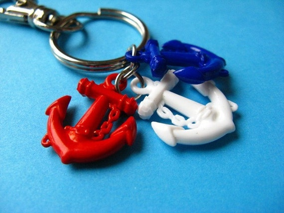 Nautical Anchors Keychain - Red. Blue and White