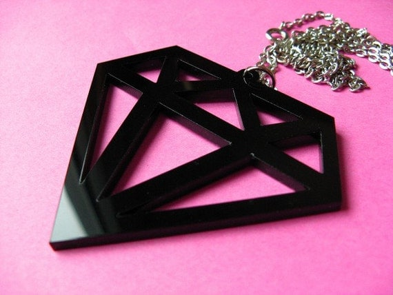 Large Black Fake Diamond Necklace - Huge Acrylic Laser Cut Pendant