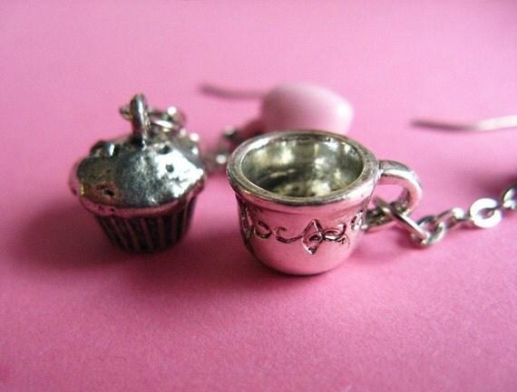 High Tea Earrings - Cupcake and Teacup Dangle Earrings