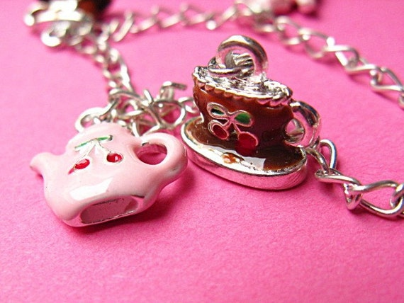 Tea Party Charm Bracelet - Cherry Tea Pot and Cup - Pink and Brown