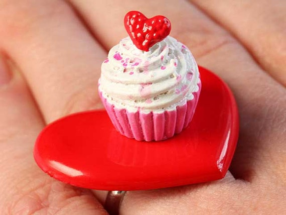 Large Heart & Cupcake Ring - Red and Pink