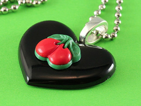 Heart & Cherries Necklace - Retro Rockabilly Pendant - Black, Red and Green
