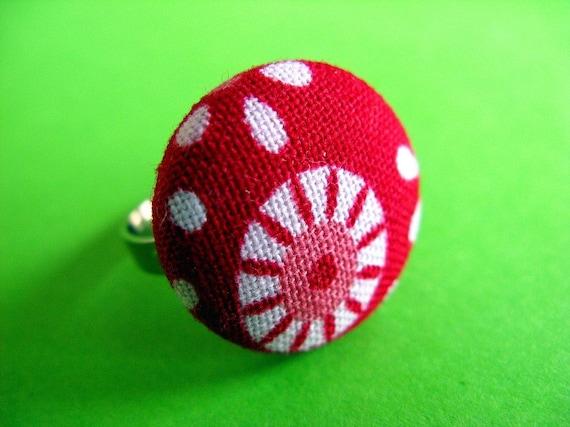 Mod Tilda - Fabric Covered Adjustable Ring