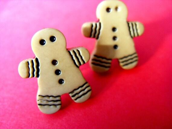 Gingerbread Man Stud Earrings - Christmas Cookie Ear Posts - Tan