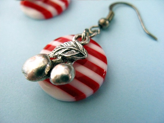 Striped Candy Cherry Dangle Earings - Red and White
