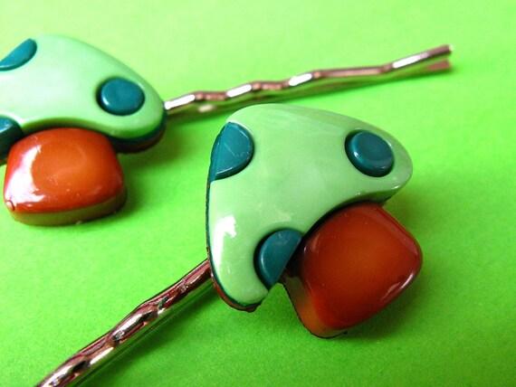 Mushroom Bobby Pins - Green and Brown