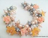 Sale - Pearl Beaded Bracelet, Floral Bracelet, Peach and Gray Bracelet -  Handmade Original Designs by Kim Smith  - Peach Sparkle