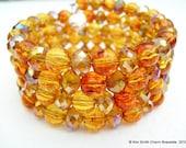 Handmade Memory Wire Wrap Bracelet by Kim Smith - Tortoise Shell