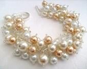 Pearl Beaded Bracelet, Bridal Jewelry, Wedding, Pearl Bridesmaid Bracelet, Cluster Bracelet, Pearl Bracelet, Ivory and, White Pearl Jewelry