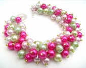 Bridesmaid Jewelry, Pink and Lime Pearl Beaded Bracelet, Cluster Bracelet, Pearl Bracelet, Summer Wedding, Bridesmaid Gift - By Kim Smith