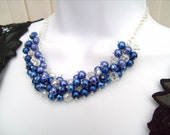 Cobalt Blue Pearl Beaded Necklace, Bridesmaid Jewelry, Cluster Necklace, Bridesmaid Gift, Custom Colours - Royal Blue Necklace, Blue Jewelry