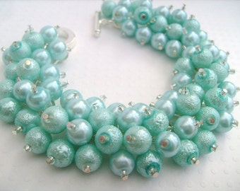 Mint Green Pearl Beaded Bracelet, Cluster Bracelet, Chunky Bracelet, Bridesmaid Gift - Handmade Designs By Kim Smith