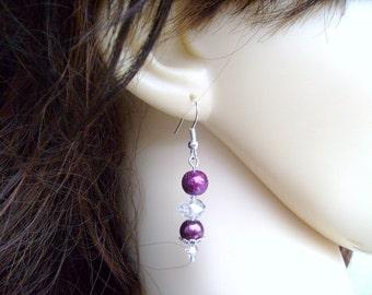 Pearl Earrings, Bridesmaids Earrings, Pearl & Crystal Earrings, Pearl Beaded Earrings, Custom Colours, Wedding Jewelry, Dangle Earrings