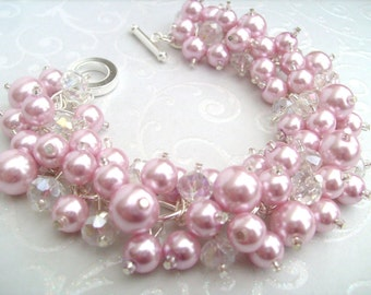 Pink Pearl Beaded Bracelet, Bridesmaid Jewelry, Wedding, Bridesmaid Bracelet, Cluster Bracelet, Pink Pearl Jewelry, Pink Wedding Theme, Gift