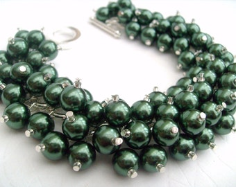 Bridesmaid Jewelry, Forest Green Pearl Beaded Bracelet, Cluster Bracelet, Pearl Bracelet, Bridesmaid Gift - Handmade Jewelry By Kim Smith