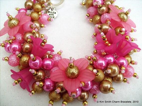 Handmade Original  Beaded Charm Bracelet by Kim Smith  - Pink Shimmer
