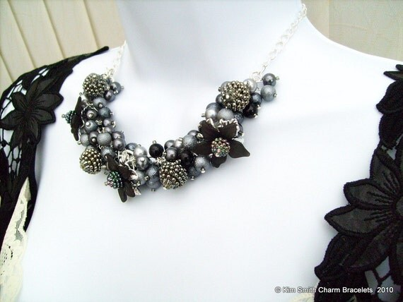 Handmade Original Pearl Beaded Floral Necklace by Kim Smith - Sparkle in Slate