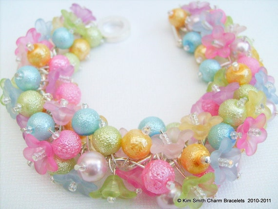 Spring in Pastels - Pearl Beaded Charm Bracelet - Handmade Original Designs by Kim Smith