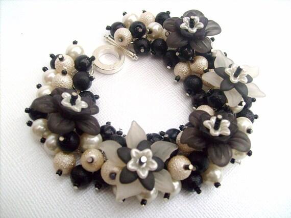 Classy Girl - Pearl Beaded Charm Bracelet - Handmade Original Designs by Kim Smith