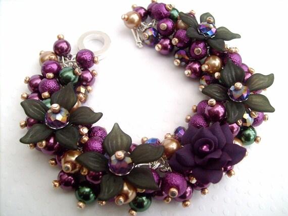 Purple Bracelet, Winter Colours, Pearl Beaded Bracelet, Cluster Bracelet, Chunky Bracelet, Bracelet With Flowers - Damson Delight