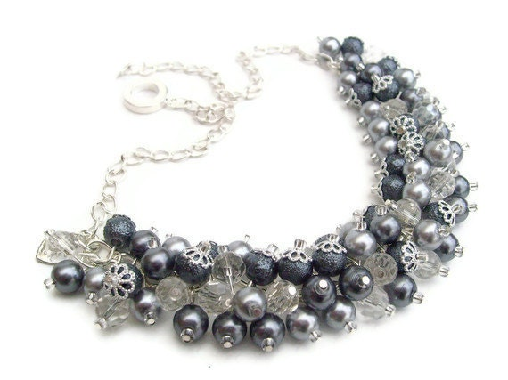 Pearl Beaded Necklace, Cluster Necklace, Chunky Necklace - Silver Chic - Original Designs by Kim Smith