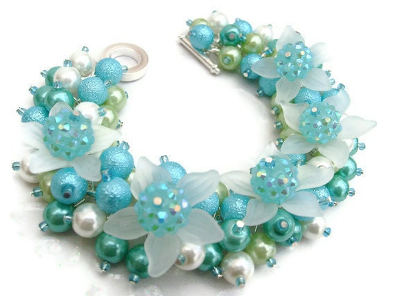 Pearl Beaded Bracelet With Flowers, Cluster Bracelet, Chunky Bracelet, Aqua Bracelet - Mermaids Wish - Original Designs by Kim Smith