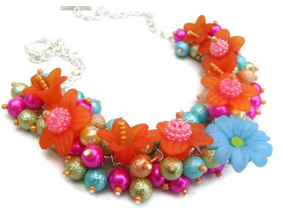 Pearl Beaded Necklace, Cluster Necklace, Chunky Necklace, Floral Necklace - Tropical Flowers - Original Designs by Kim Smith
