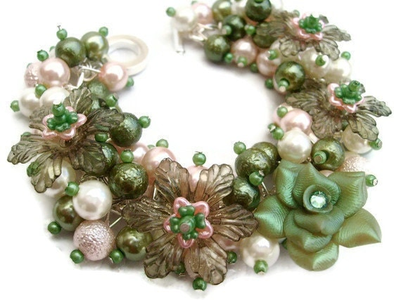 Pearl Beaded Bracelet With Flowers, Cluster Bracelet, Chunky Bracelet, Mothers Day, Peach and Green - The Green Rose - by Kim Smith