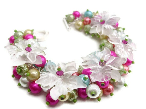 Sale - Hot Pink and Lime Green Pearl Beaded Bracelet with White Flowers, Cluster Bracelet, Bridesmaid Bracelet - Summer Garden