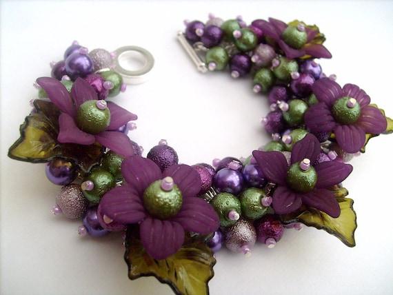 Purple Pearl Cluster Bracelet, Floral Bracelet, Purple Bracelet, Chunky Bracelet , Berry Colours - Designs by Kim Smith