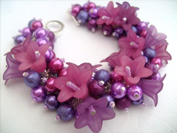 Sale - Pearl Beaded Bracelet, Floral Bracelet, Cluster Bracelet, Berry Colours, Chunky Bracelet - Jewelry Designs by Kim Smith