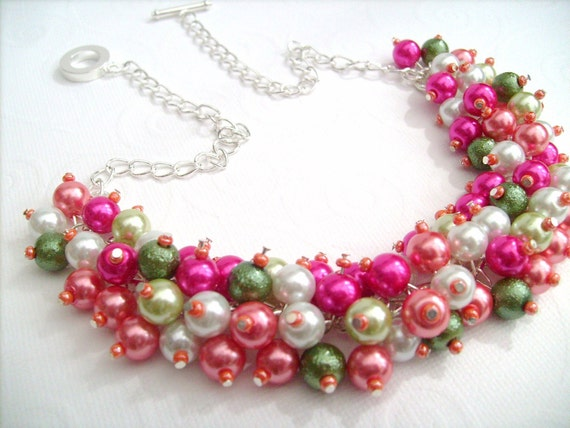 Cluster Necklace, Bridesmaid Gift, Beach Wedding, Hot Pink and Coral, Pearl Necklace, Bridal Party, Summer Wedding, Bridesmaid Necklace