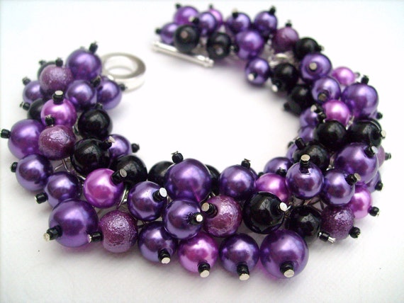 Bridesmaid Jewelry, Purple and Black Pearl Beaded Bracelet, Cluster Bracelet, Pearl Bracelet, Bridesmaid Gift - Jewelry By Kim Smith