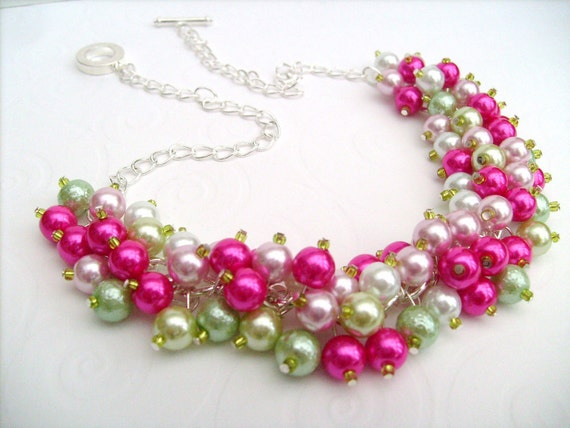 Pearl Cluster Necklace, Bridesmaid Gift, Beach Wedding, Hot Pink and Lime, Pearl Necklace, Bridal Party, Summer Wedding, Bridesmaid Necklace