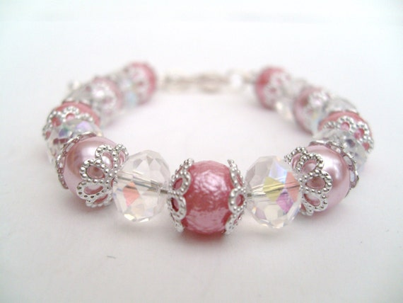 Reserved - Flowergirl Bracelet In Your Custom Colours, Pink Flowergirl, Pearl Beaded Bracelet For Flowergirl, Bridesmaid Gift