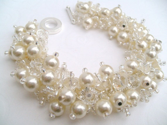 Bridal Jewelry, Wedding, Pearl Bridesmaid Bracelet, Cluster Bracelet, Pearl Bracelet, Ivory Pearl Jewelry - Dainty - Designs by Kim Smith
