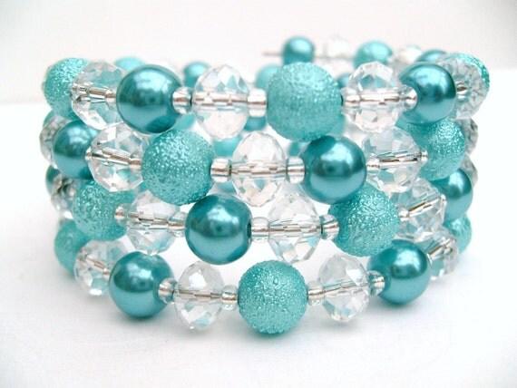 Malibu Blue Pearl Beaded Memory Wire Wrap Bracelet, Cuff Bracelet, Chunky Bracelet, Bridal Jewelry - Handmade by Kim Smith